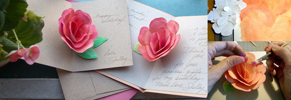 Буквами, роза из бумаги своими руками на открытку